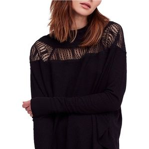 Free People NWT Black Spring Valley Thermal Tunic